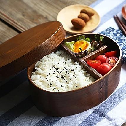 BXT Cajas de comida Bento de madera, con bandeja y soporte, para conservación de alimentos, ideal para llevar y para estudiantes: Amazon.es: Hogar