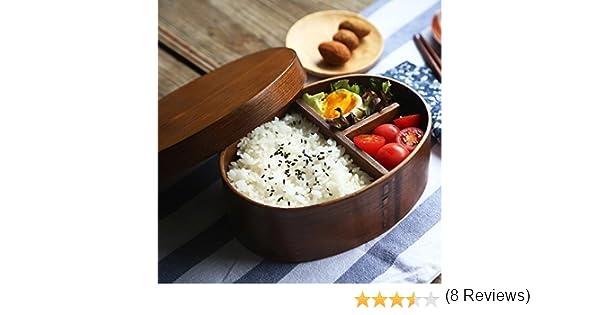BXT Cajas de comida Bento de madera para conservaci/ón de alimentos ideal para llevar y para estudiantes con bandeja y soporte