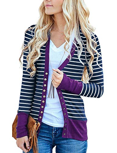 (MEROKEETY Women's Long Sleeve Striped Snap Button Down Contrast Color V Neck Cardigans)