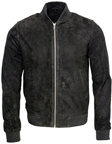 Mens Retro Black Goat Suede Leather Bomber Varsity Jacket XL (Jacket Leather Suede Varsity)