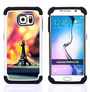 BullDog Case - FOR/Samsung Galaxy S6 G9200 / - / Macro Hipster Retro Eiffel Tower /- H??brido Heavy Duty caja del tel??fono protector din??mico - silicona suave