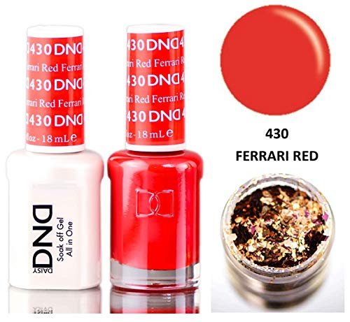 Daisy DND Reds Soak Off GEL POLISH DUO, All In One Gel Lacquer + Matching Nail Polish Color for Nails (with bonus side Glitter) Made in USA (Ferrari Red (430))