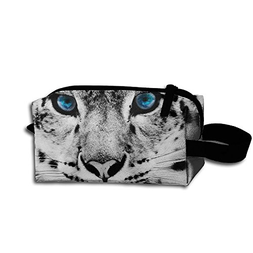 Makeup Cosmetic Bag Black And White Snow Leopard Cheetah Zip Travel Portable Storage Pouch For Mens -