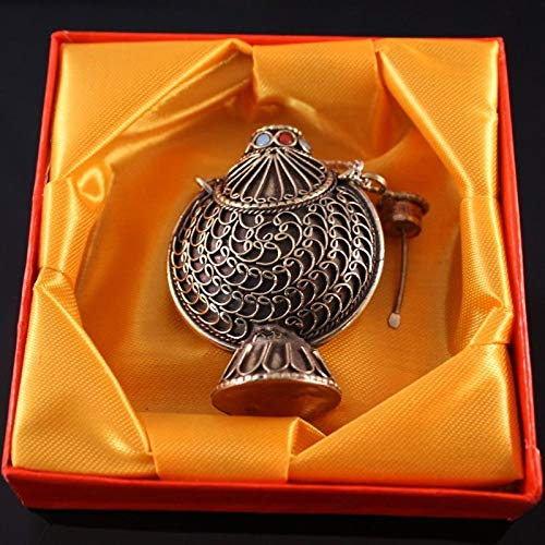 Very Large Thick Tibetan Filigree Turquoise Red Coral Spoon Snuff Bottle Pendant ()