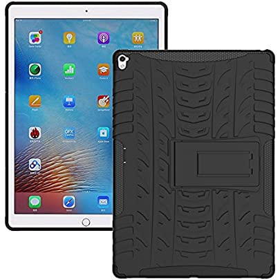 TGK Hybrid Tough Rubber Armor Defender Shockproof with Stand Hard Cover for Apple iPad Pro 2 9.7 inch 2016 Released A1673, A1674, A1675  Black  Touch