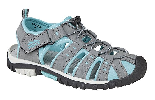 PDQ Ladies Womens Toggle Lace Touch Fastening Strap Sports Sandals Shoes Size 3-9 Grey KvPVjHG