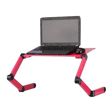 kuuboo plegable para ordenador portátil soporte de mesa escritorio bandeja con ratón Junta y doble (2 x) Ventilador de refrigeración.
