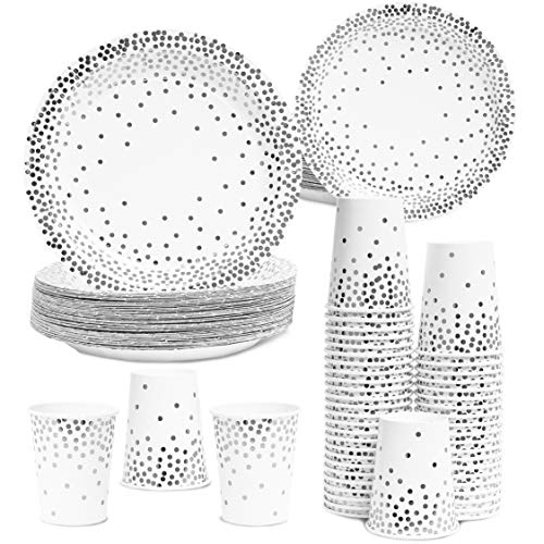 Juvale Silver Foil Dots Party Pack for 50 Guests - Paper Dinner, Appetizer Plates, and Cups