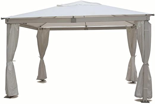 Cenador con estructura de madera 3 x 3 robusto con toalla blanco y ...