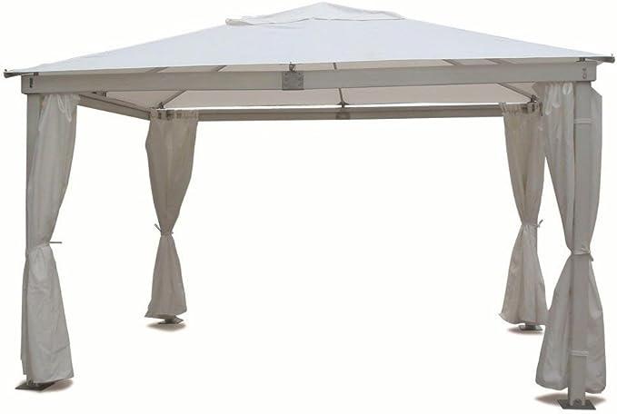 Cenador con estructura de madera 3 x 3 robusto con toalla blanco y paredes laterales para exterior jardín: Amazon.es: Jardín