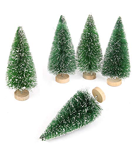 Goldenlight 10Pcs Miniature Christmas Trees Mini Pine Tree Tiny Sisal Trees with Snow and Wood Base for Christmas Decoration Snow Globe Crafts (Green, 10Pcs - Height 4.5cm)