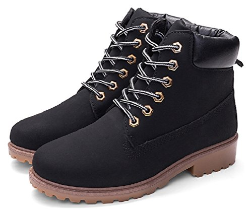 Vivihouse Womens Lace Up Work Boots Ankle High Combat Military Boots