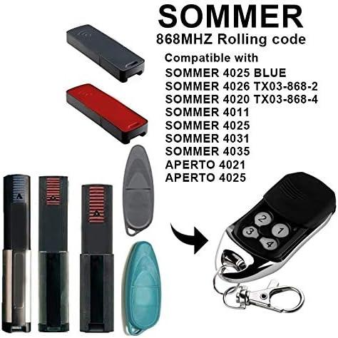 SNOWINSPRING 1 Pieza 4 Botones para Sommer 4020 4026 Control Remoto de Reemplazo Sommer Control de Puerta Comando de Garaje 868.35Mhz Transmisor de C/óDigo Rodante