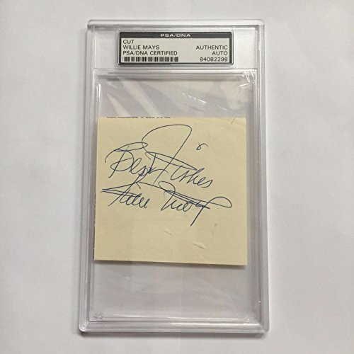Large 1970's Willie Mays Signed Autographed Cut Signature COA - PSA/DNA Certified - MLB Cut - Willie Mays Signature