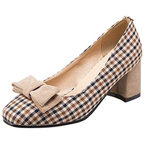Shoes Classic On Women Slip Print RAZAMAZA Plaid Beige Dress U4qgyw