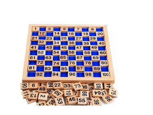 Wooden Toys Hundred Board Montessori 1-100 Consecutive Numbers Wooden Educational Game for Kids with Storage Bag