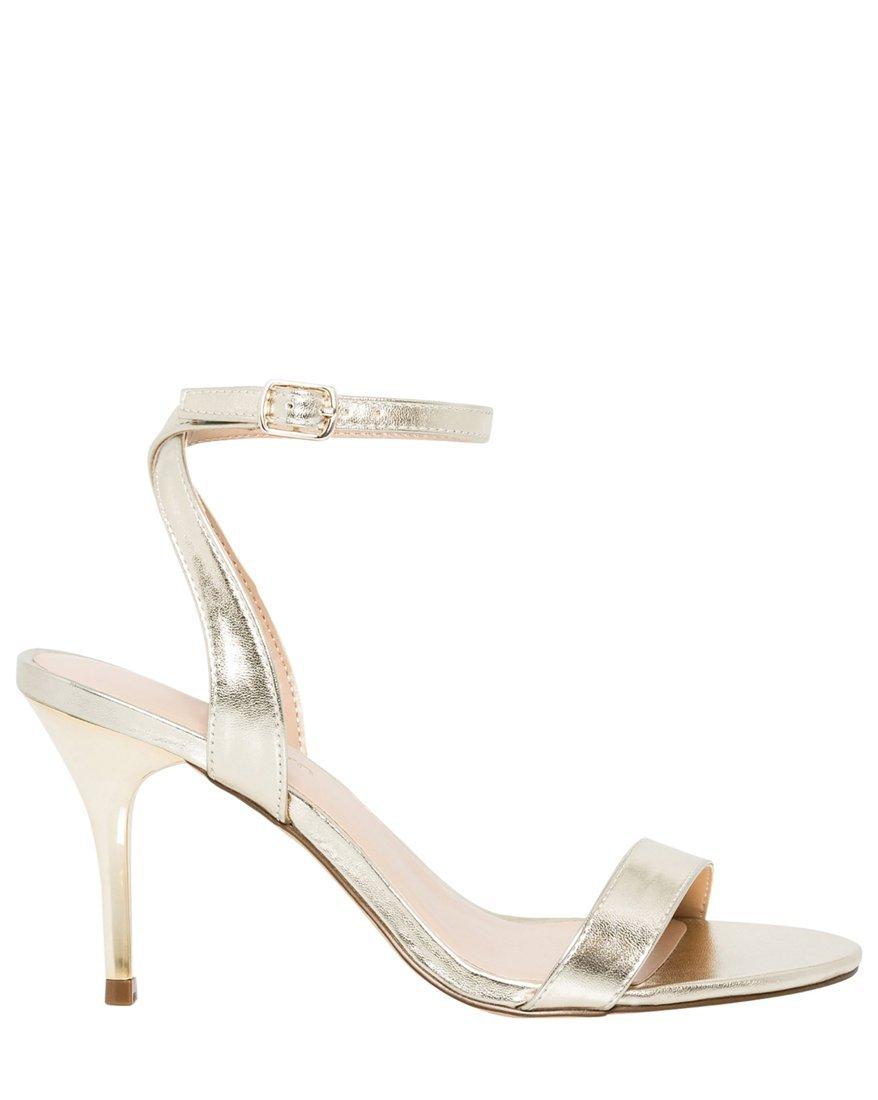 LE CHÂTEAU Women's Dressy Ankle Strap Sandal,7,Gold