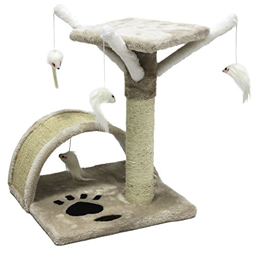 CUPETS Pet Products Cat Activity Trees Pet Furniture Toy Bed House Cat Perch House Cat Tree Scratcher Beige