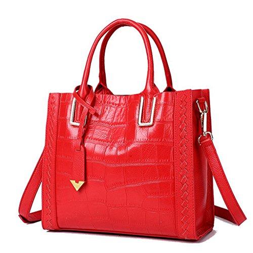 de 5 Mujer Hecho a Gran viaje bolsos Sucastle 2 hombro RFID para Mano Genuino trabajo Bloqueo Cuero Capacidad Genuina Ideal y 4gxHwqx