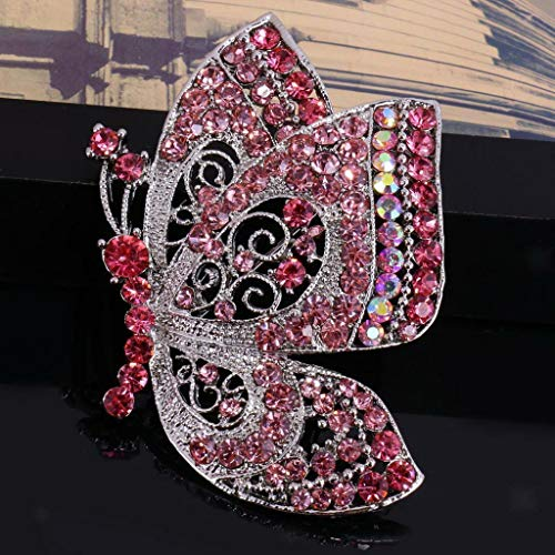 (Vintage Women Jewelry Silver Plated Crystal Rhinestone Butterfly Brooch Pin | Color - Pink)