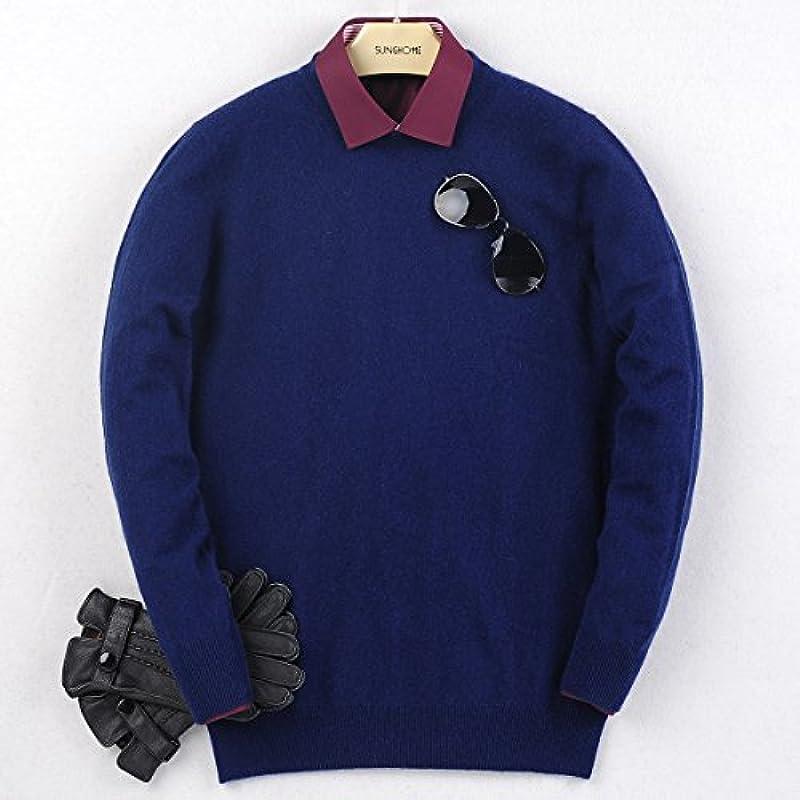 ?? Zhili Męskie Pullover Cashmere Crew Neck Sweater - Blau - Klein: Odzież