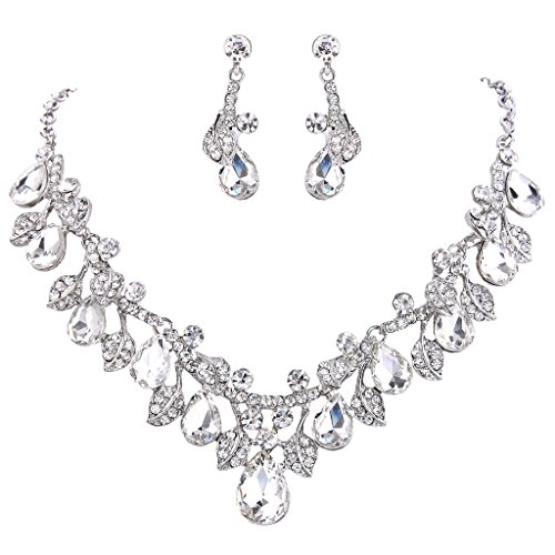 Jewelry Formal Costume (BriLove Wedding Bridal Necklace Earrings Jewelry Set for Women Crystal Enamel Teardrop Cluster Leaf Vine Statement Necklace Dangle Earrings Set Clear Silver-Tone)