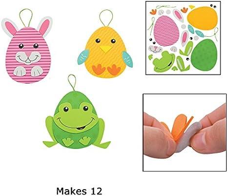 Amazon Com Foam Easter Egg Character Ornament Craft Kit Makes 12