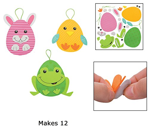 Easter Foam - Foam Easter Egg Character Ornament Craft Kit - Makes 12 by Fun Express
