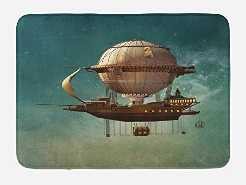 Ambesonne Fantasy Bath Mat, Surreal Sky Scenery with Steampunk Airship Fairy Sci Fi Stardust Space Image, Plush Bathroom Decor Mat with Non Slip Backing, 29.5 W X 17.5 W Inches, Teal and Brown ()