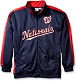 MLB Washington Nationals Men's Tricot Poly Track Jacket, 4X, Navy/Red