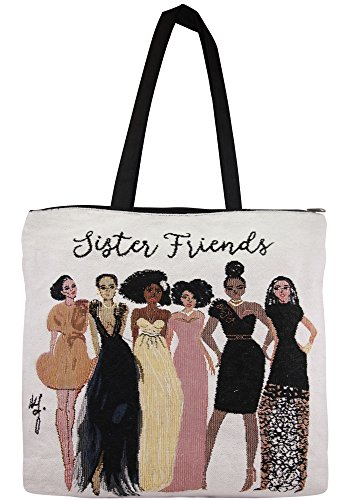 African American Expressions - Sister Friends Woven Tote Bag (Cotton Blend, 17