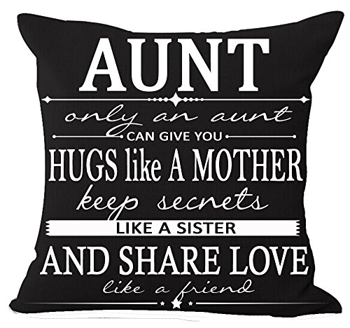 Aunt Throw Pillow - Best Gift for Aunt Only an Aunt Can Give You A Hugs Like A Mother Cotton Linen Throw Pillow Case Cushion Cover Home Office Decorative Square 18 X 18 Inches (Aunt) ¡