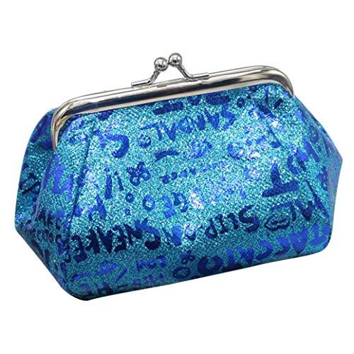 (Kimloog Clearance!Women's PU Leather Printed Coin Purse Kiss-Lock Clutch Pouch Wallet (Blue) )