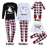 WensLTD Family Pajama Set, Matching Family Pjs Christmas Bear Pint Pajamas Set Blouse + Lattice Pants (L, Women-White)