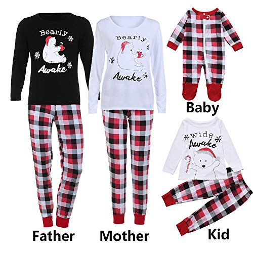WensLTD Family Pajama Set, Matching Family Pjs Christmas Bear Pint Pajamas Set Blouse + Lattice Pants (S, Women-White) -