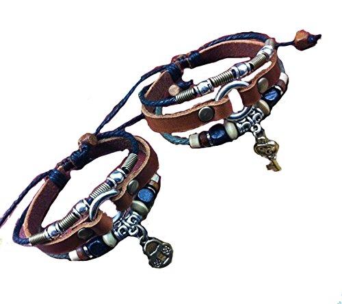 (Lovers Leather Bracelet,Couples Bracelet,Lock and Key Bracelet,Charm Bracelets,Anniversary Gifts, Bridesmaid)