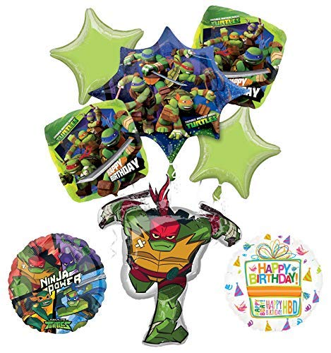 Mayflower Products Teenage Mutant Ninja Turtles Birthday Party Supplies TMNT Raphael Balloon Bouquet Decorations -