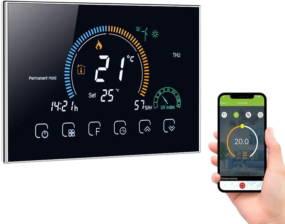 Decdeal Termostato WiFi 16 A para calefacción eléctrica - Programable/Control APP Vocal/LCD retroiluminado Visualización de la humedad y los rayos UV; compatible con Alexa Google Home,GB,BHT-8000
