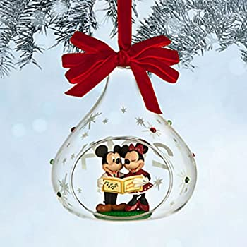 2014 disney mickey and minnie mouse glass sketchbook christmas ornament - Minnie Mouse Christmas Decorations