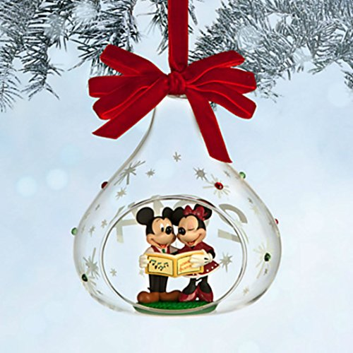 2014 Disney Mickey and Minnie Mouse Glass Sketchbook Christmas Ornament