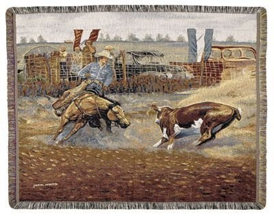 (Simply Home Western Cowboy Rodeo Scene Tapestry Throw 50