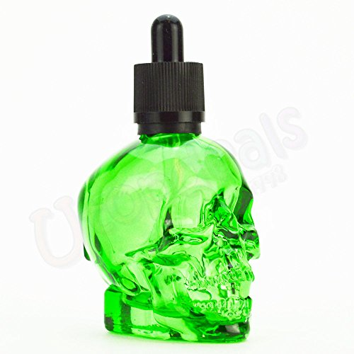 Unishow 60ML 2OZ Skull Glass Colorful Translucent Dropper Bottle Liquid Fragrance Perfumes Juice Essential Oil Container Green