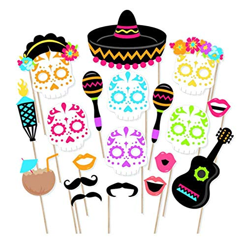 Leegoal 21pcs Mexican Theme Culture Sugar Skull Day Of the Dead Photo Booth Props Souvenirs Party Supplies Photobooth Decoration ()