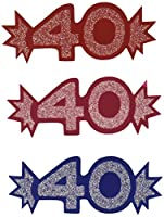 """Beistle 8 Count Miniature Glittered Foil """"40"""" Cutouts, 51/2-Inch"""