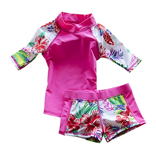 l Two Piece Swimsuit Swimwear Bathing Suit UPF 52+ pink L ()