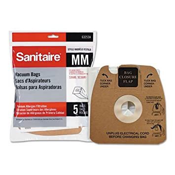 Top Vacuum Parts Sanitaire 63253A10 Style MM Disposable Dust Bags w/Allergen Filter for 3670G/SC3683A/SC3683B, 5/PK