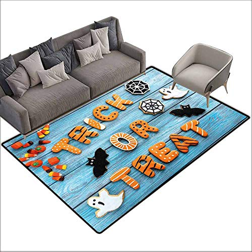 Kitchen Doormat Halloween,Fresh Trick or Treat Gingerbread Cookies on Blue Wooden Table Spider Web Ghost,Multicolor 48