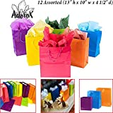 """Adorox 12 Assorted (13"""" h x 10"""" w x 4 1/2"""" d) Bright Neon Colored Party Present Paper Gift Bags Birthday Wedding All Occasion"""