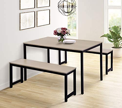 Dinning Room Set with Bench,JULYFOX 3 Pieces Dining Table and 2 Bench Chairs Set for 4 People-Metal and Wood Kitchen Table Set for Small Spaces Black and Beige