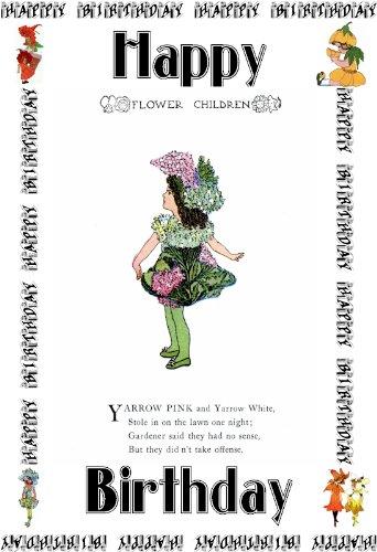 """Enfants de fleur 6 """"x 4"""" Art de carte de voeux Yarrow rose et blanc"""